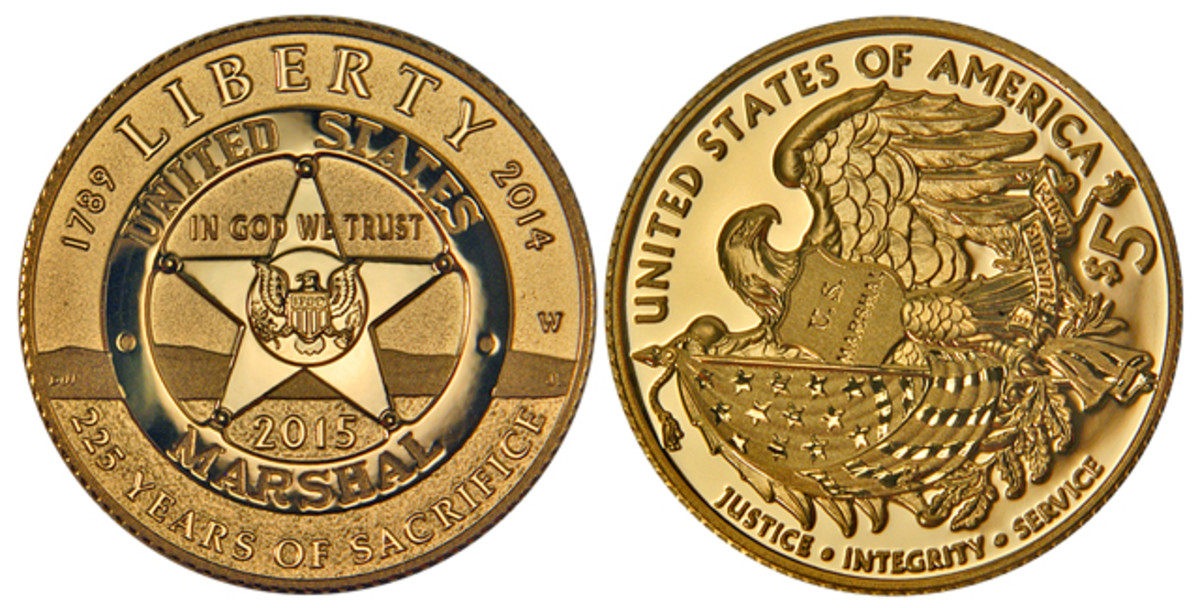 This 2015 U.S. Marshals Service $5 gold coin founded by reader Bi