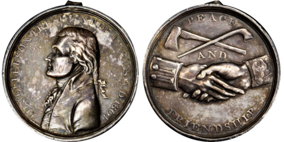 1801 Thomas Jefferson small-size Indian Peace medal.  (Image courtesy of Stack's Bowers)