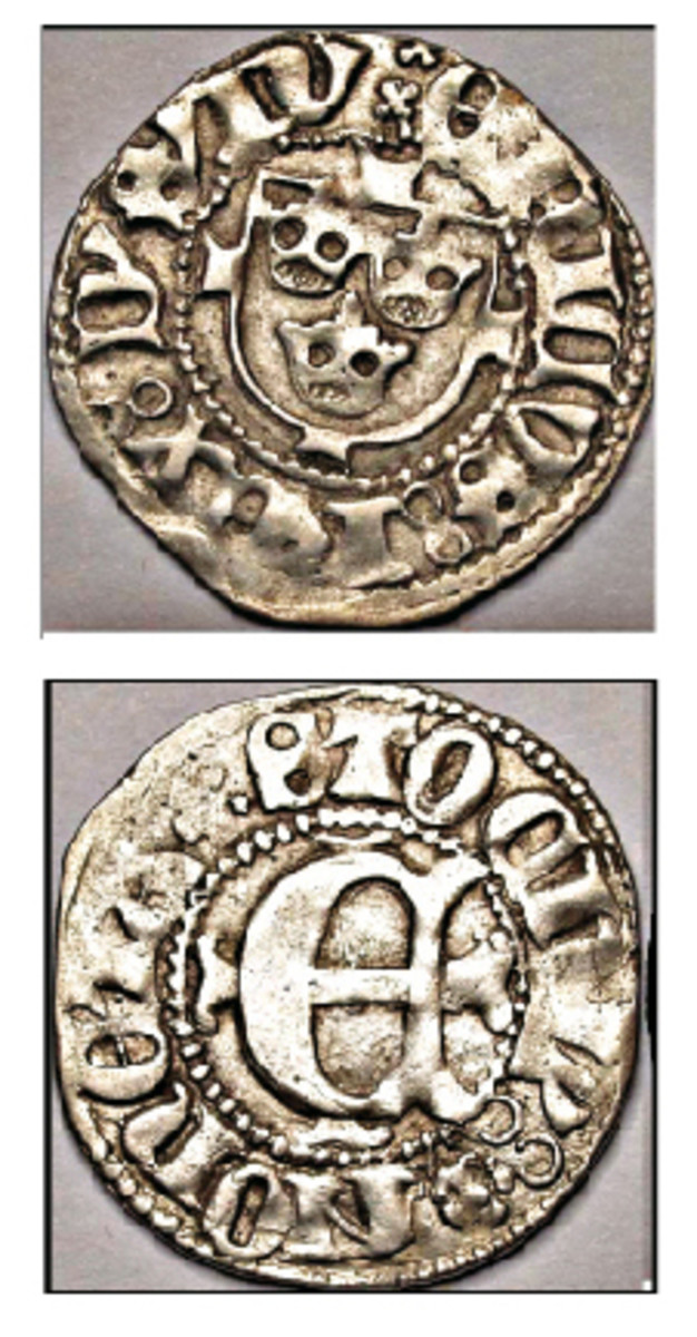 Coins in 14th and early 15th century Sweden were issued only occasionally and in small numbers, the bulk of the commerce in the Baltic region being conducted with German and English money. This is a silver ortug, we'd call it a penny, I guess, struck in Stockholm for Eric of Pomerania. (Photos courtesy Haljak Coin Auction, Tallinn, Estonia. www.ghcoin.eu)