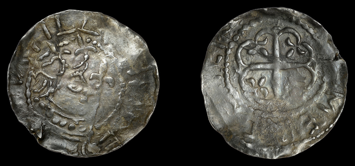 Silver sleeper: the Cross Moline penny of Matilda struck at Cardiff  (S-1326; N-936) that took over five times upper estimate or $6,280 in F. Part of the Empress's name can be made out on the crude obverse. Images courtesy DNW.