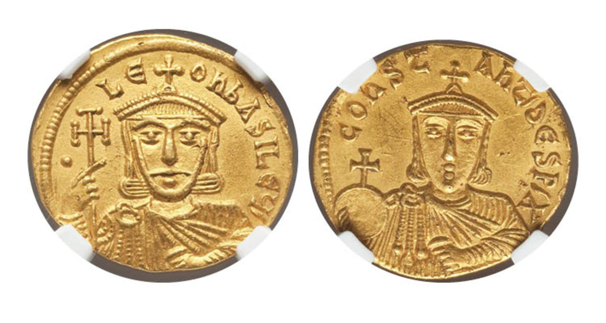 Top-selling gold: solidus of Leo V the Armenian, Emperor of the Byzantine Empire AD 813-820 (Sear 1627) that sold for $5,040 in NGC Choice AU 5/5 - 3/5 as part of Heritage Auctions on-line sale of the Morris Collection Part I. (Images courtesy and © Heritage Auctions.)
