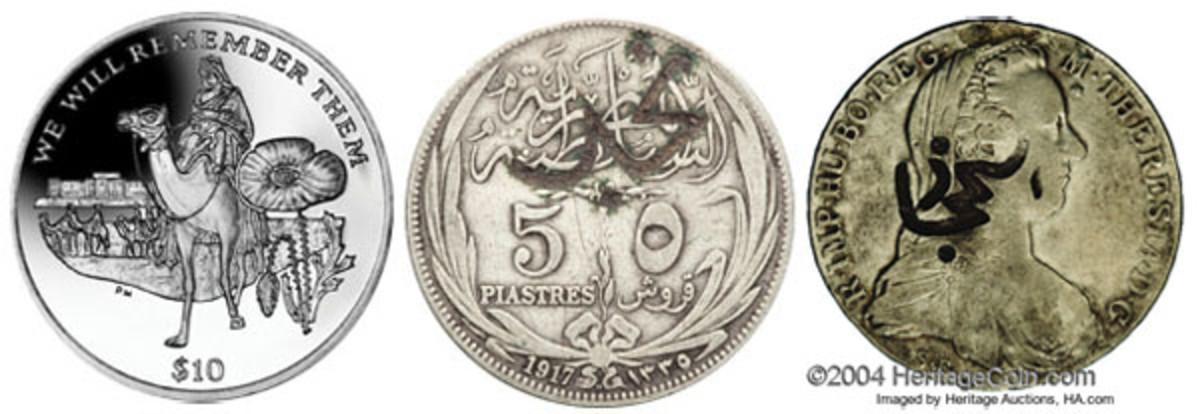 "Left: British Virgin Islands 38.60 mm, 28.28 g cupronickel $10 of 2014, KM-465.1, struck to commemorate Lawrence of Arabia. (Image courtesy Pobjoy Mint) Center: ""Nejd"" counterstamp on Egyptian 5 piastres AH 1327 Abd al-Aziz, KM-X1. (Image www.ha.com) Right: ""al-Hejaz"" counterstamp on frozen date Maria Theresa taler. (Image www.ha.com)"