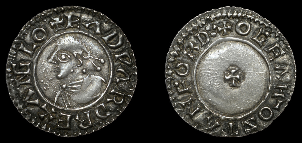 Well centered EF rarity: silver penny of Edward the Martyr (S-1142; N-763) struck in the late 8th century that fetched $11,964. Note the spelling of the king's name: EADWARD. Images courtesy DNW.