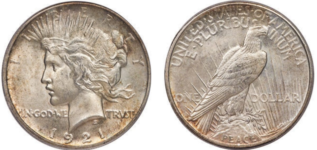 Designed by Anthony DeFrancisci, the 1921 Peace Dollar depicts the Liberty Head facing left with the eagle perched on a rock facing left.  Peace dollars were minted from 1921 through 1935.