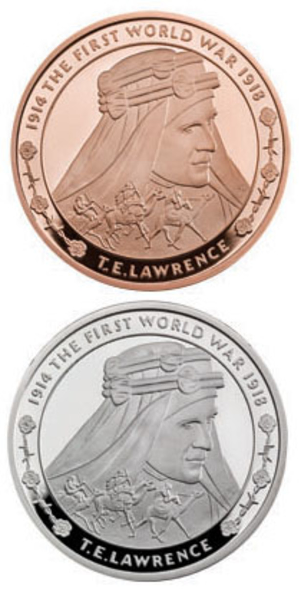 Reverses of the new British gold and silver £5 pieces paying tribute to Thomas Edward Lawrence. (Images courtesy & © The Royal Mint)