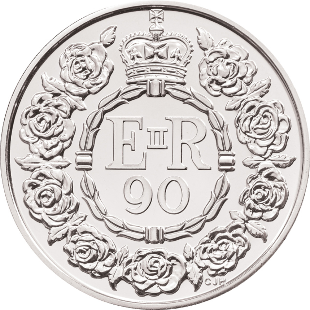 The reverse of the £5 coin that will celebrate the queen's 90th birthday on April 21 next year. The design by Christopher Hobbs is inspired by the heraldic rose of England and the queen's love of flowers.