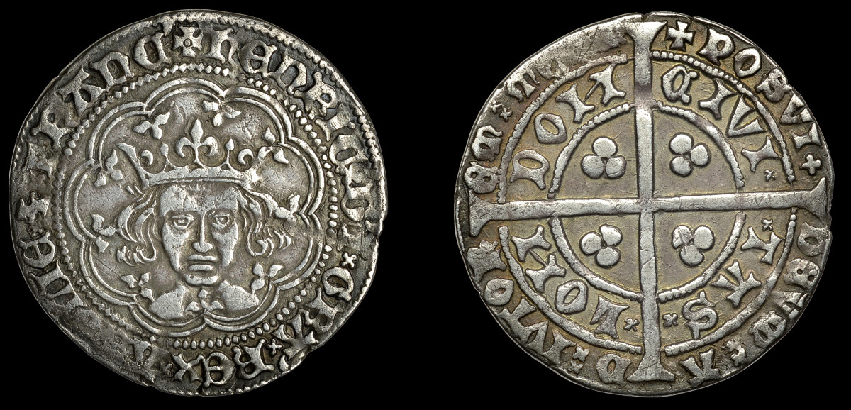 'Emaciated' bust: the portrait on this groat of Henry IV, or maybe the coin is that of his son Henry V, is quite distinctive. England's monarch does not appear to be a happy camper (S-1759; N-1385). In VF the coin $8,224 of two-and-a-half times upper estimate. Images courtesy DNW.