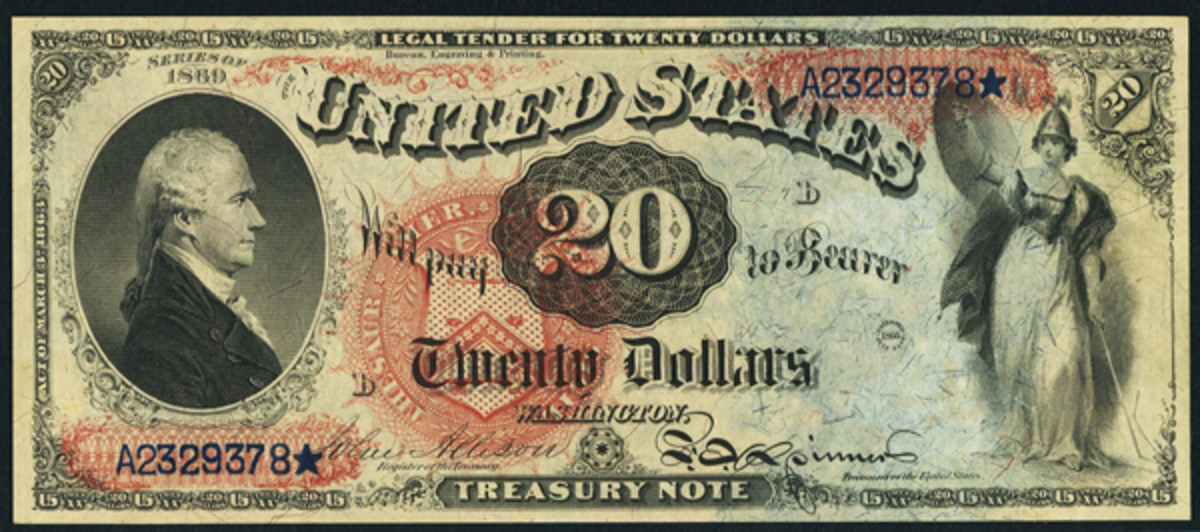 "Described as a ""stunning gem Rainbow,"" this $20 Legal Tender Note is grade PCGS Gem NewPPQ."