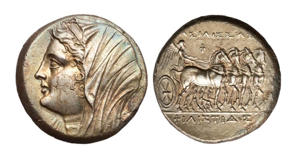 Top-selling silver: 16 litrai of Syracuse struck for Philistis, wife of Hieron II, 275-215 BC, showing her head on the obverse. In NGC Choice AU 4/5 - 2/5 the coin took $3,360. (Images courtesy and © Heritage Auctions.)
