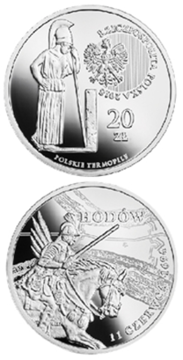 Silver proof 20 zlotych struck to commemorate the victory of a small Polish cavalry unit over a large force of Muslim invaders in 1694. (Images courtesy Narodowy Bank Polski)