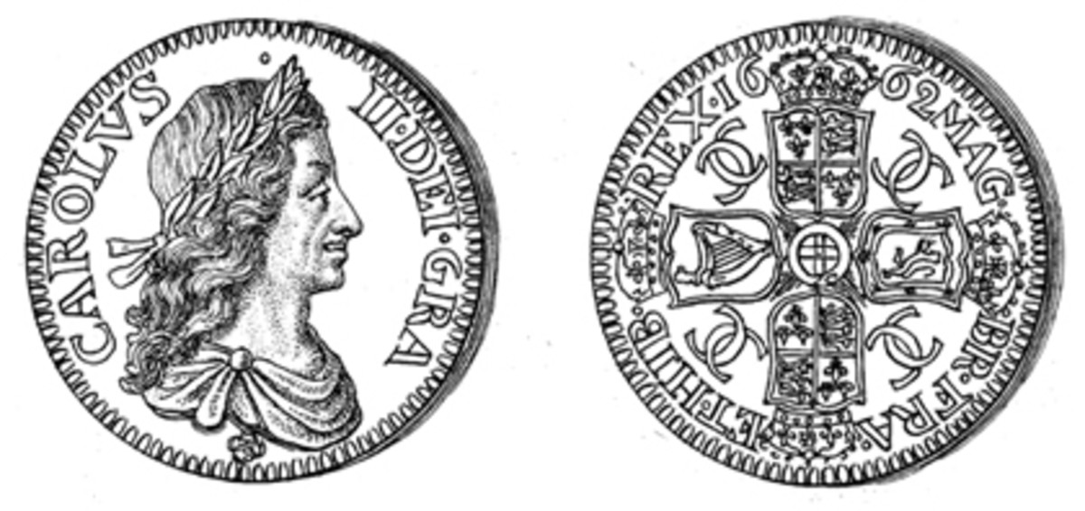 The 1662 Roettier design for the silver crown.