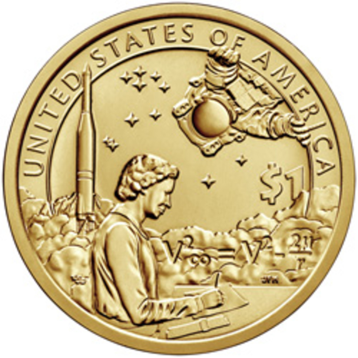 Who is that peering at us from the 1 o'clock position on the new 2019 Native American dollar coin?