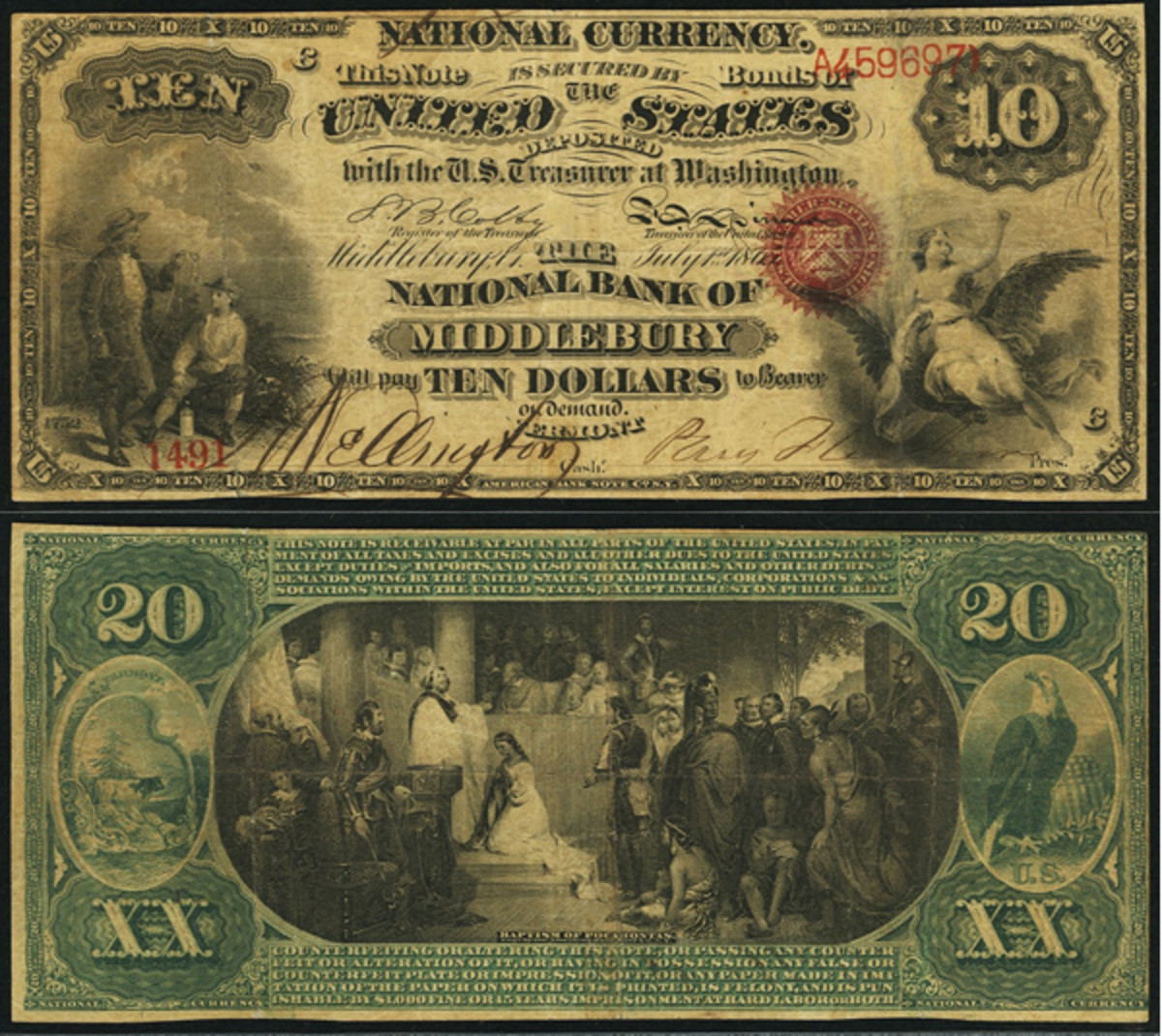 A double denomination $10/$20 is a rare Original Series note.