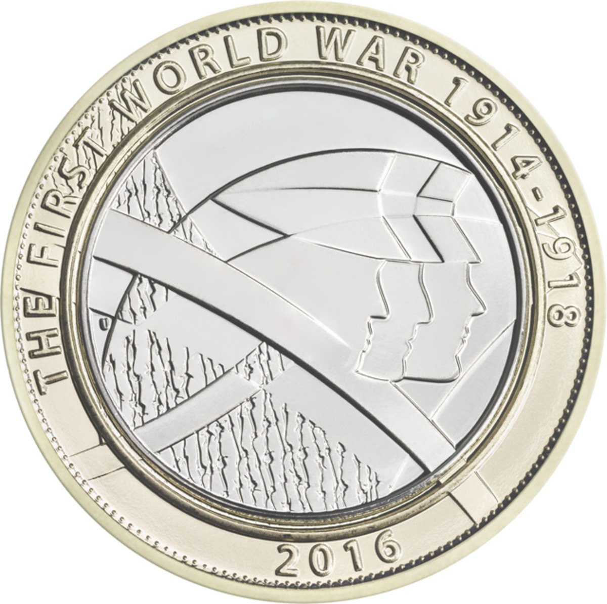 """The role of """"Pals"""" Battalions in defense of King and Country in WWI is recalled on this £2 coin by designer Tim Sharp."""
