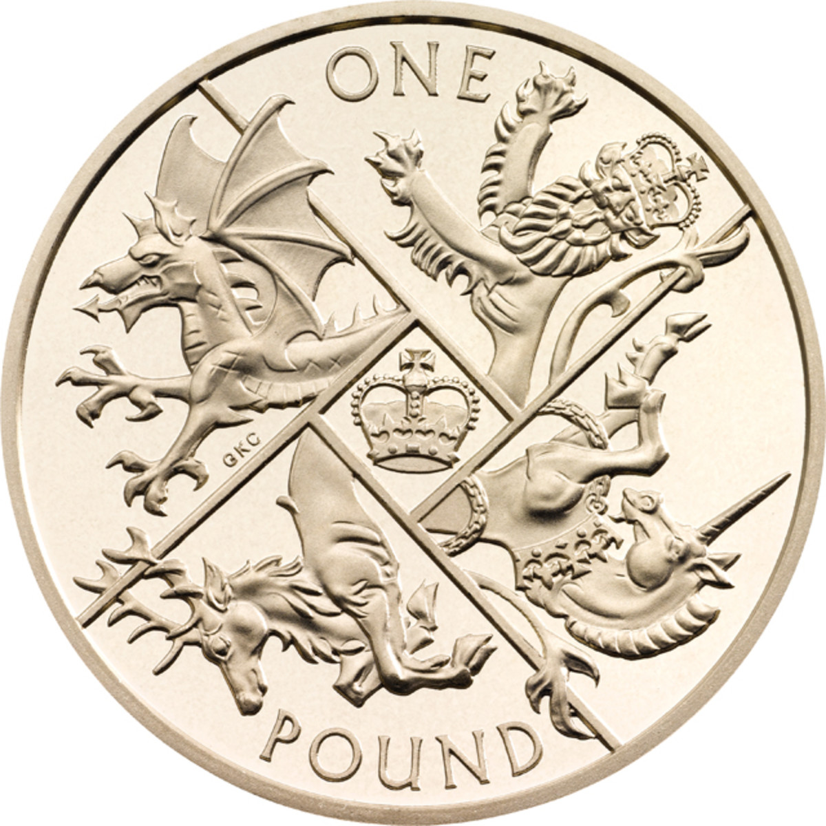 The heraldic reverse of what will be Britain's last ever round pound by Gregory Cameron.