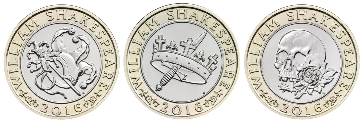 Reverses of the three commemorative £2 coins struck for the 400th anniversary of the death of William Shakespeare. The designs are by John Bergdahl. Images courtesy and © The Royal Mint.