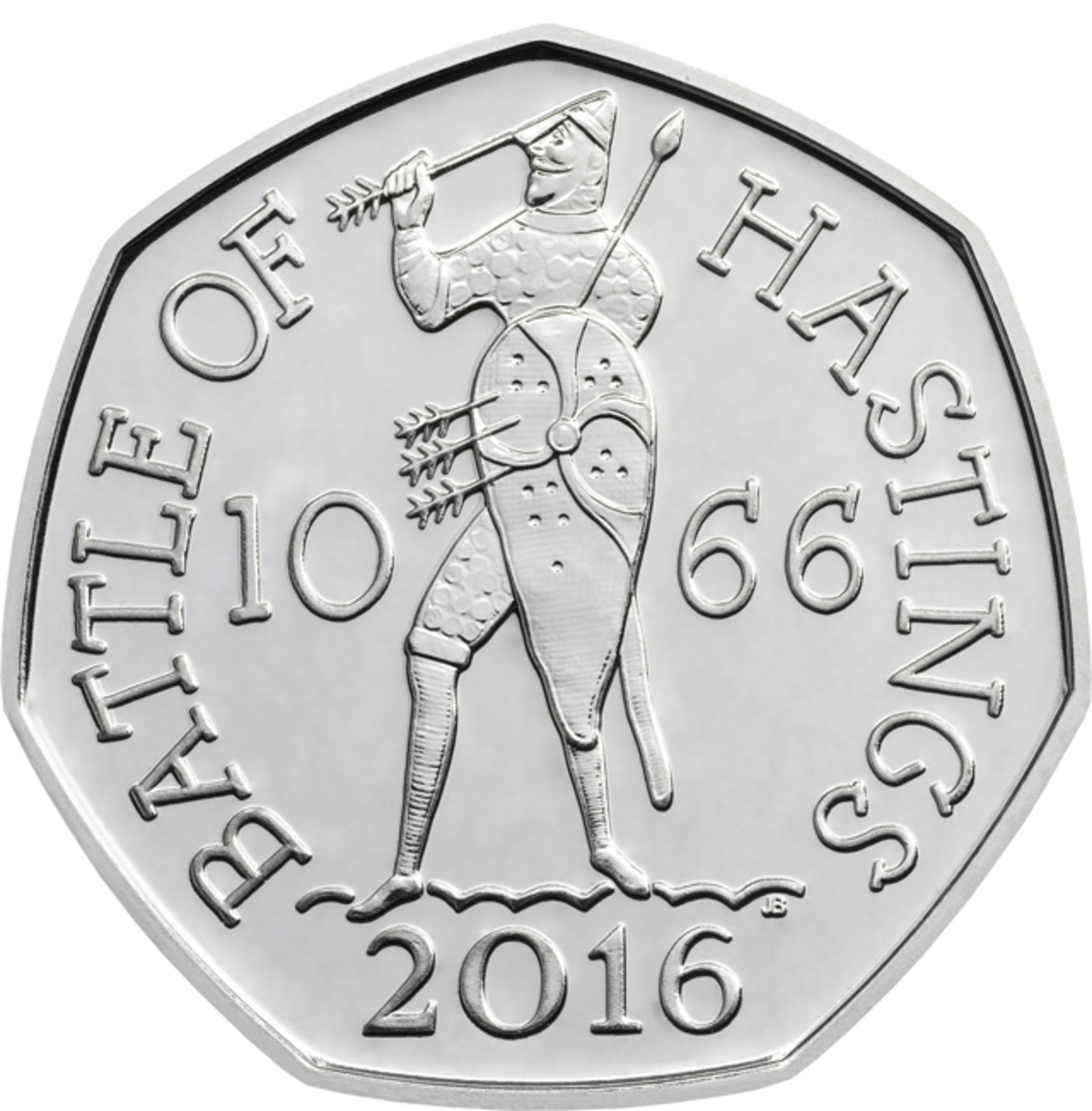 The commemorative 50p coin to be struck to mark the 950th Anniversary of The Battle of Hastings. John Bergdahl's design shows the fate of King Harold II as depicted on the Bayeux Tapestry.