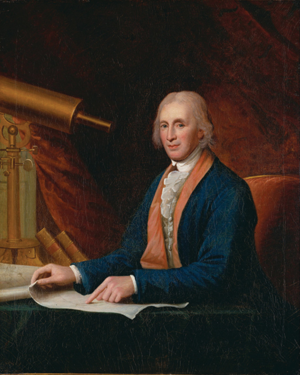 David Rittenhouse was the first Director of the United States Mint. He is shown with a telescope, because he was a prominent scientist. Image from the National Portrait Gallery, Washington, D.C. (Charles_Willson_Peale_-_David_Rittenhouse_-_Google_Art_Project.jpg)
