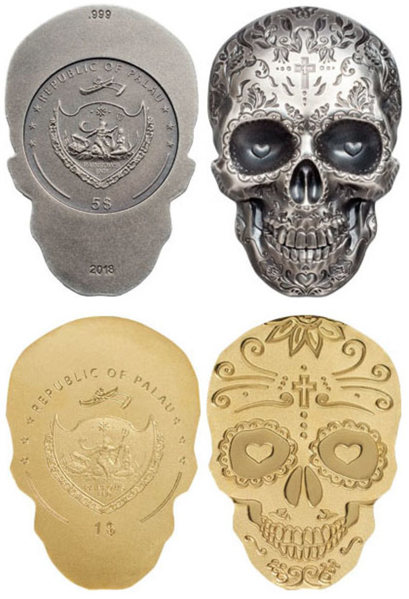 Palau's latest skull coins that mark the Day of the Dead. (Images courtesy Coin Invest Trust)