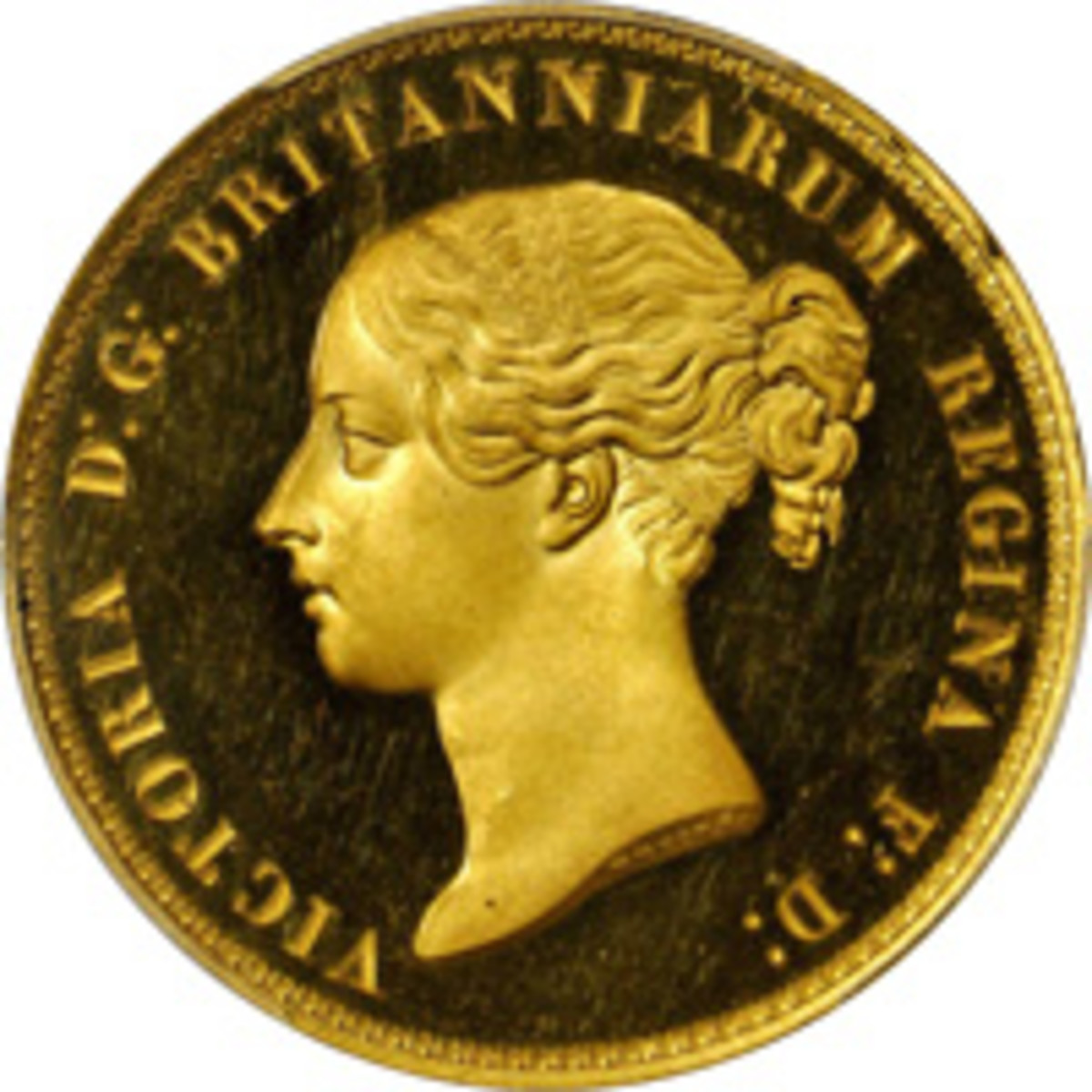 """Obverse of the choice """"Una and the Lion"""" 5 pounds from the 15-piece 1839 proof set that fetched $432,000 or well over upper estimate at Stack's Bowers ANA world & ancient coin sale. (Image courtesy Stack's Bowers)"""