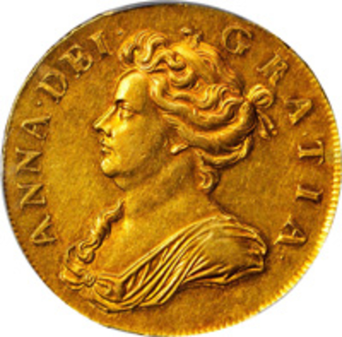 Rare and lustrous top-priced gold 5 guineas of Queen Anne. Struck prior to the union of the crowns of Scotland and England in 1705, it realized a stunning $84,000 in PCGS AU-55. (Image courtesy Stack's Bowers)
