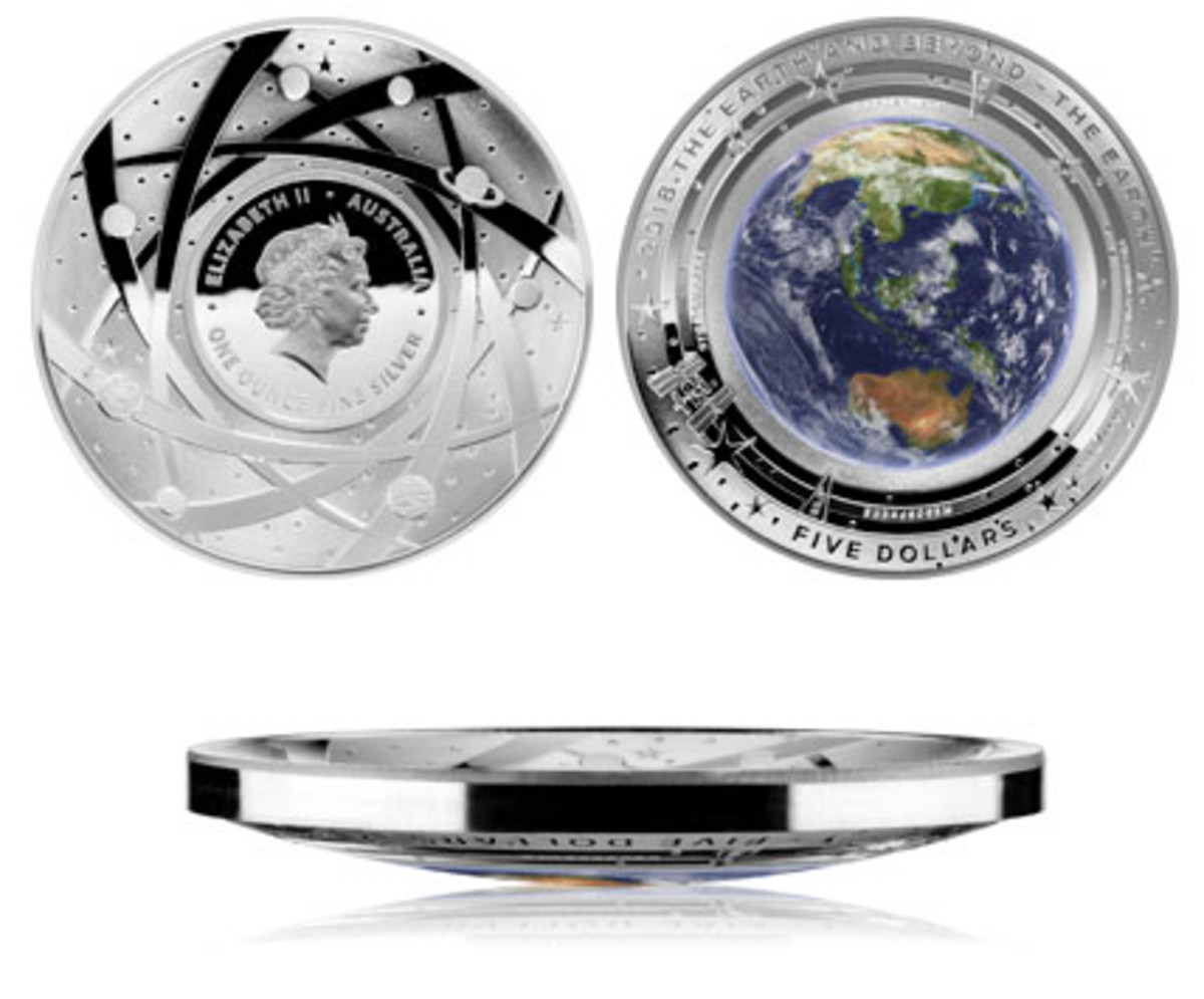 Obverse, reverse and edge-on images of Australia's latest colored domed $5 proof that celebrates Planet Earth. (Images courtesy The Royal Australian Mint)