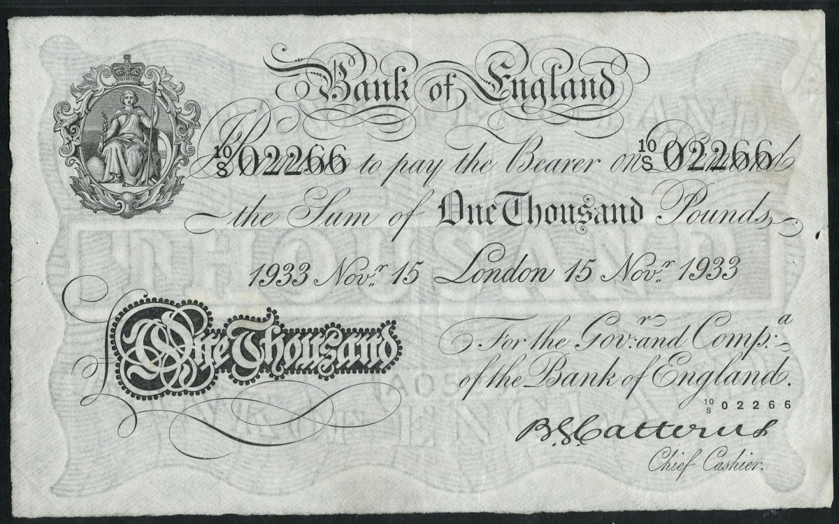 Delectable £1000 signed by Basil Catterns and drawn on London dated 15 November 1933 (P-334; EPM B234). In PMG 35 Choice Very Fine / Pinholes, the estimate is £20,000-25,000. Image courtesy of Spink, UK.