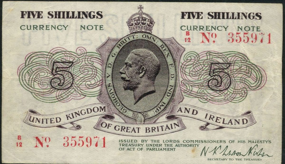 Extremely rare Norman Warren-Fisher undated fractional 5 shillings of 1919 (P-355; EPM T27). In PMG 35 Choice Very Fine the estimate is £6,000-7,000. Image courtesy of Spink, UK.