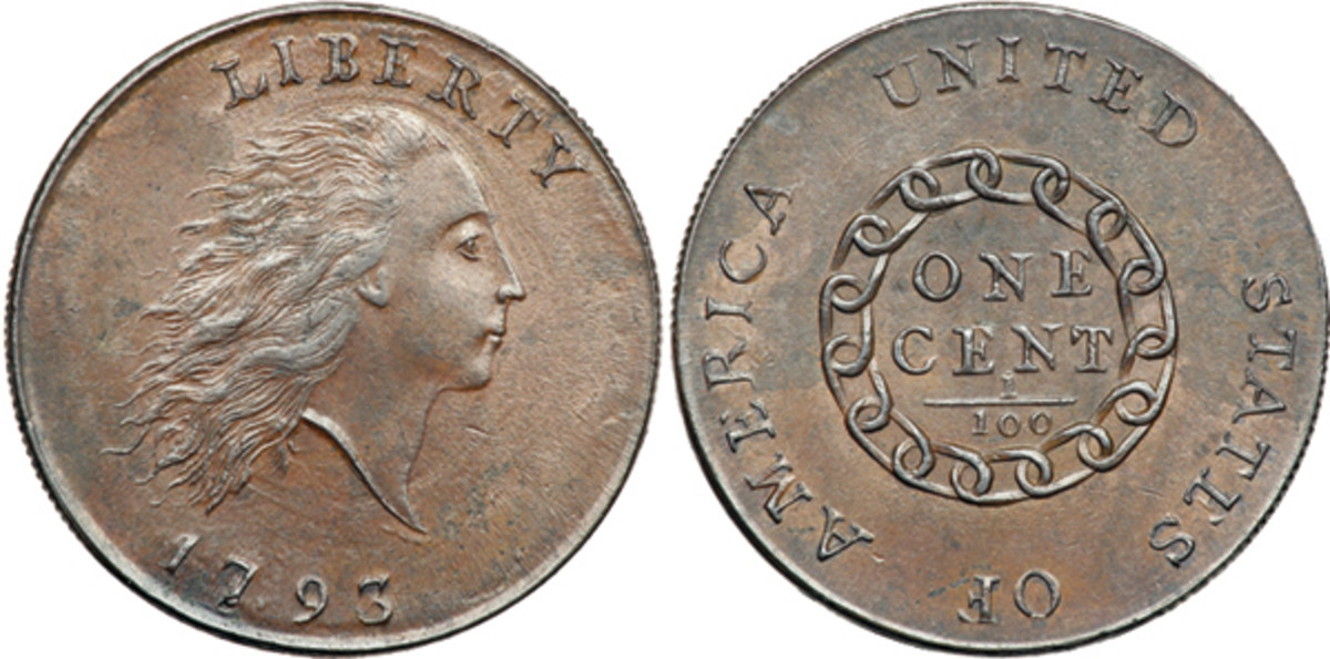 1793 Chain cent struck in early March, probably by Bay and York. Bay also cut the punches used for the lettering and to create the chain. (Image courtesy of Goldbergs)