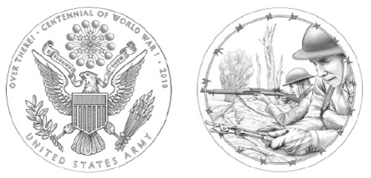 Two soldiers fighting in the trenches, one cutting barbed wire, will appear on the reverse of the Mint's medal honoring the Army for the 2018 centennial of World War I.