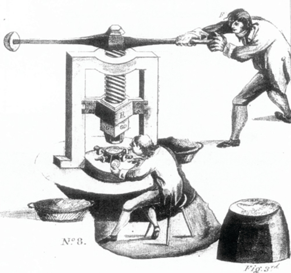 "Illustration of the operation of a screw press by a coiner and a pressman. Presses at the U.S. Mint were operated by a second pressman in addition to those shown. From Samuel Thompson, ""An Essay on Coinage,"" 1783."