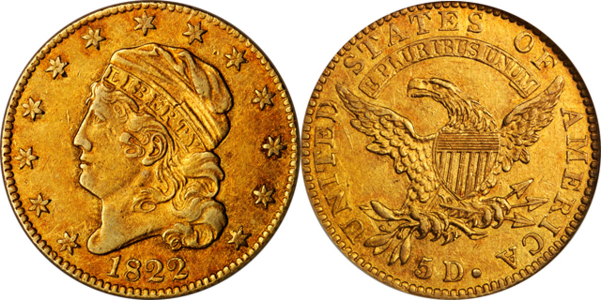 The D. Brent Pogue Collection 1822 $5 gold piece.