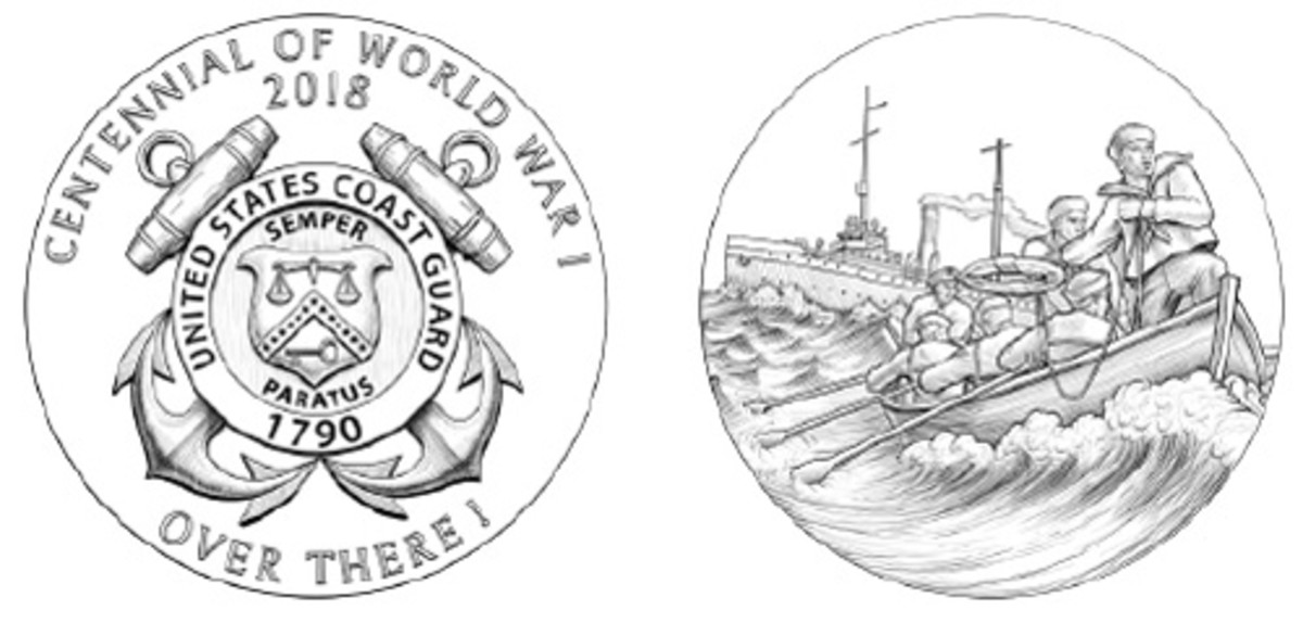 The Coast Guard medal shows a rescue at sea.