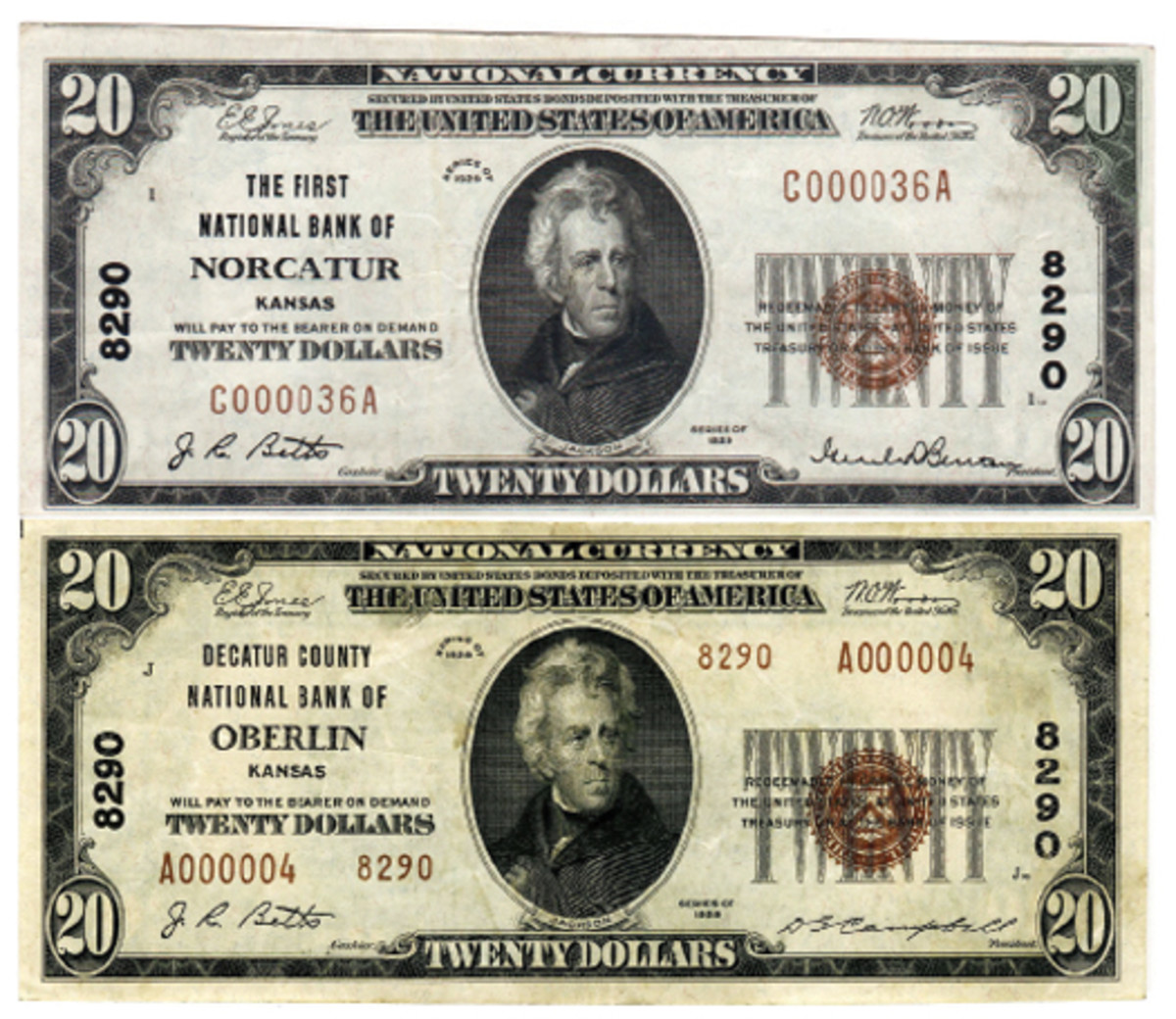 Figure 4. These examples of Series of 1929 notes issued by a Kansas banking institution represents one of five banks that actually moved to new locations and in turn changed the name of the city from Norcatur to Oberlin. This change took place in October of 1934.