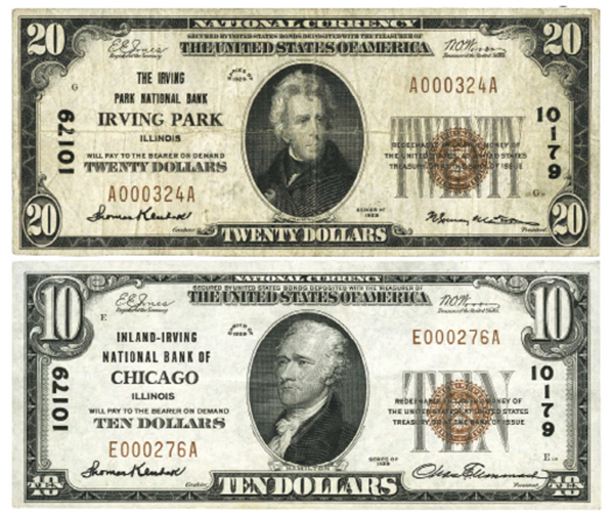 Figure 3. The name change in the identity of this note was made in February of 1931. It was changed from the neighborhood of Irving Park to the city proper of Chicago.