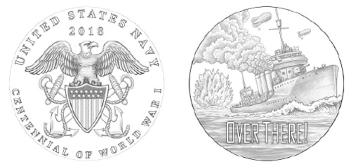 """The Navy medal shows a Navy destroyer with an """"Over There"""" legend."""