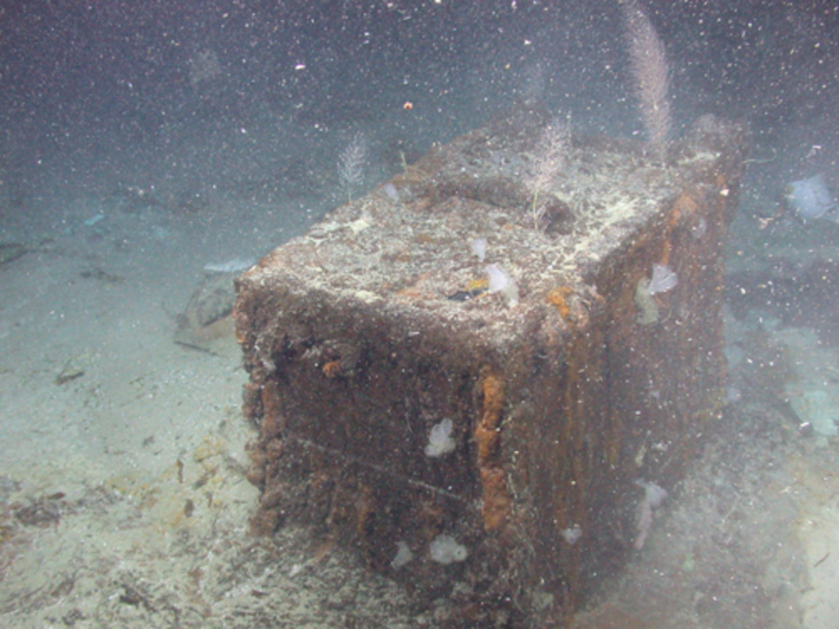 """The 'S.S. Central America' purser's safe seen as it was discovered on the Atlantic Ocean floor in 2014, 157 years after the fabled """"Ship of Gold"""" sank in a hurricane. (Photo courtesy of California Gold Marketing Group)"""