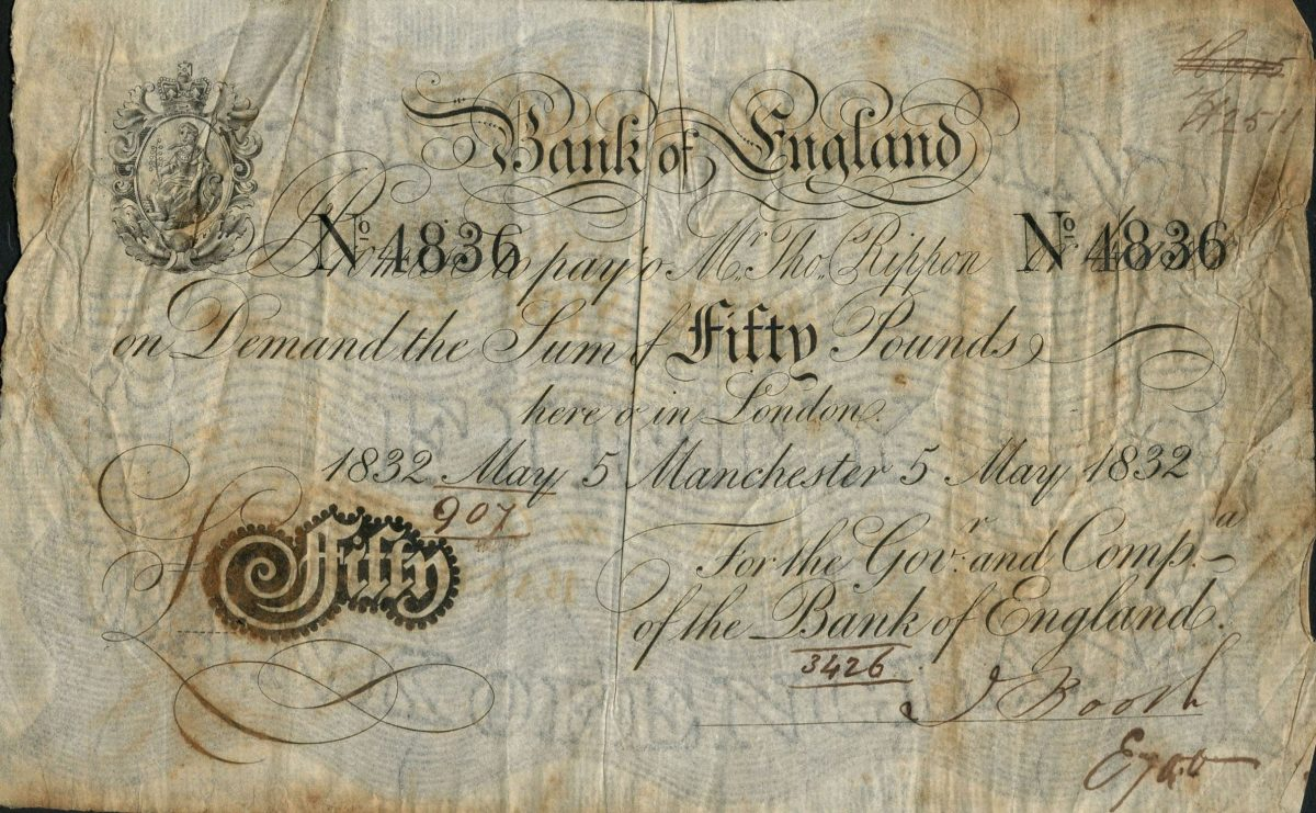 Thomas Rippon £50 drawn on Manchester and dated 5 May 1832 (P-215; EPM B202a). It goes to the block graded PMG 25 Very Fine with an estimate of £20,000-30,000. Image courtesy of Spink, UK.