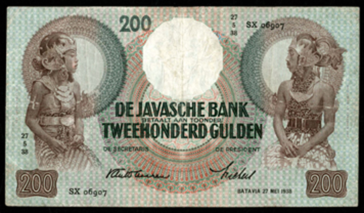 Face of Netherlands Indies 200 gulden that realized $12,000 in VF at Knight's World Live Auction. (Image courtesy Lyn Knight Auctions)