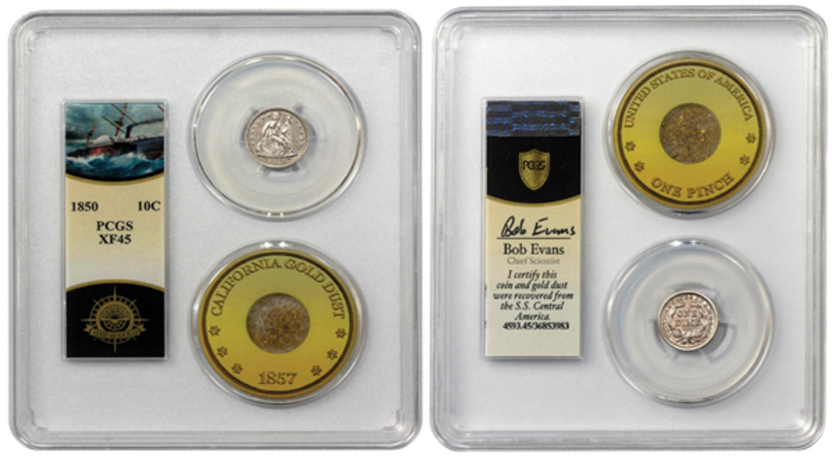 """Professional Coin Grading Service has authenticated sunken treasure coins recovered in 2014 from the S.S. Central America, including this 1850 dime now encapsulated with some gold dust also recovered from the """"Ship of Gold"""" that sank in 1857. (Photo courtesy of U.S. Coins)"""