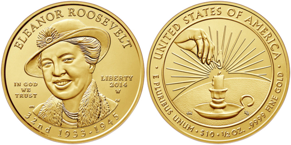 The 2014-W Eleanor Roosevelt First Spouse gold coin was also nominated for an award.