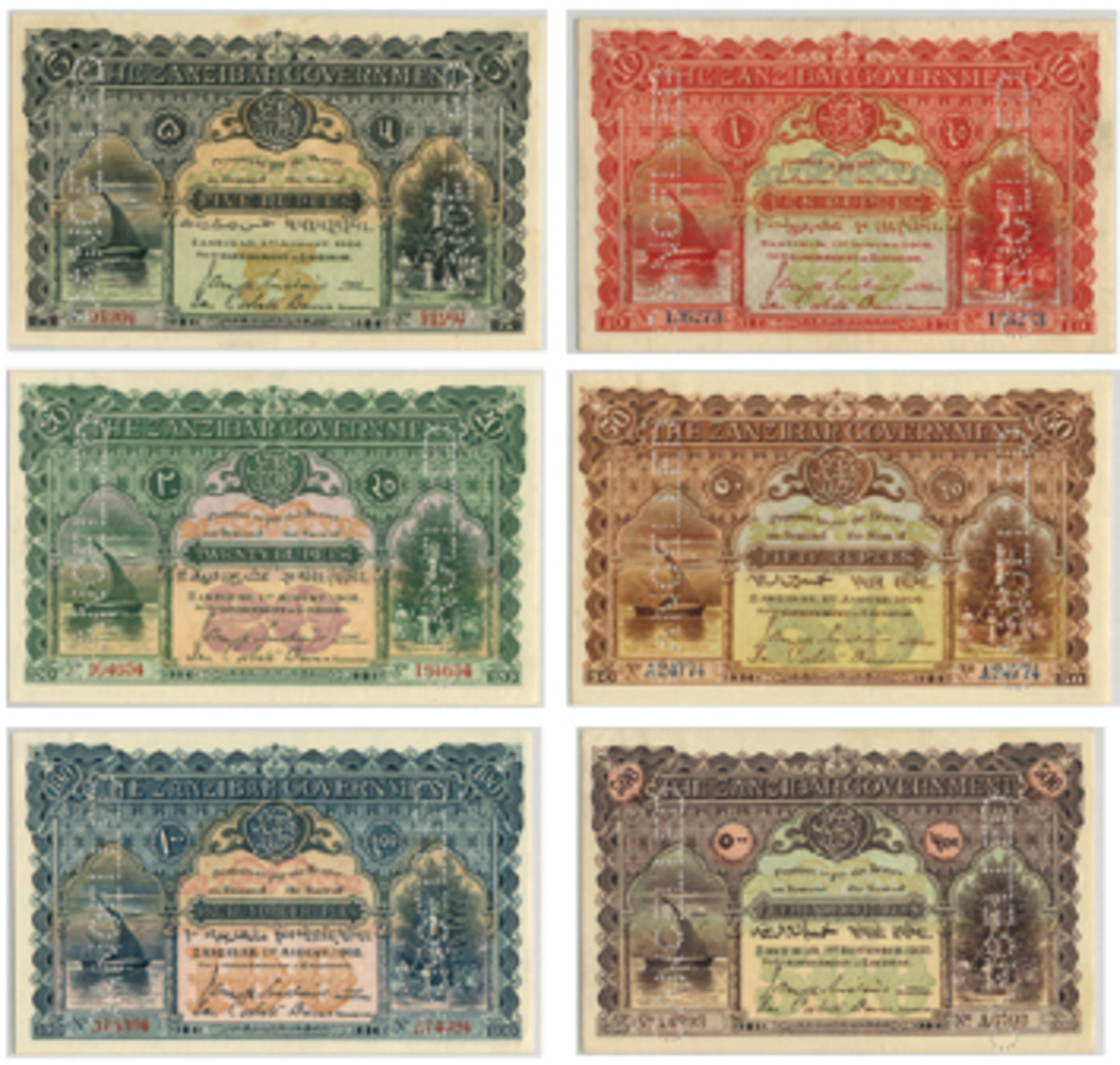 The complete Waterlow-printed Zanzibar set sold in September. (Images courtesy and © Spink London)