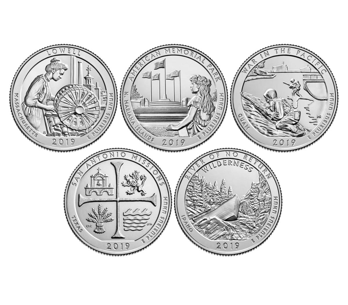 Closeup of coin reverses
