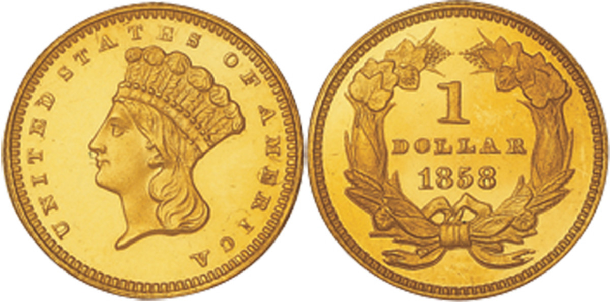 A 1858 type three Indian Head gold dollar coin.