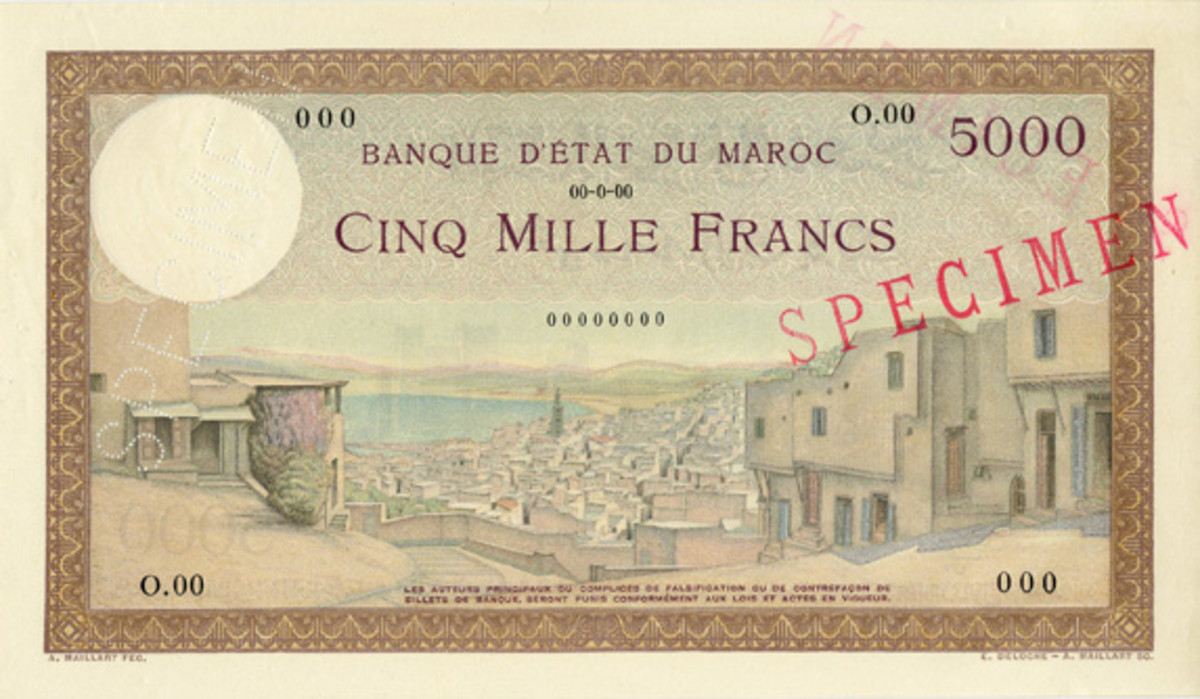 Rare Banque d'Etat du Maroc, 5,000 francs specimen, P-23s, in UNC to be offered at AIA's live catalog sale in late August-early September.