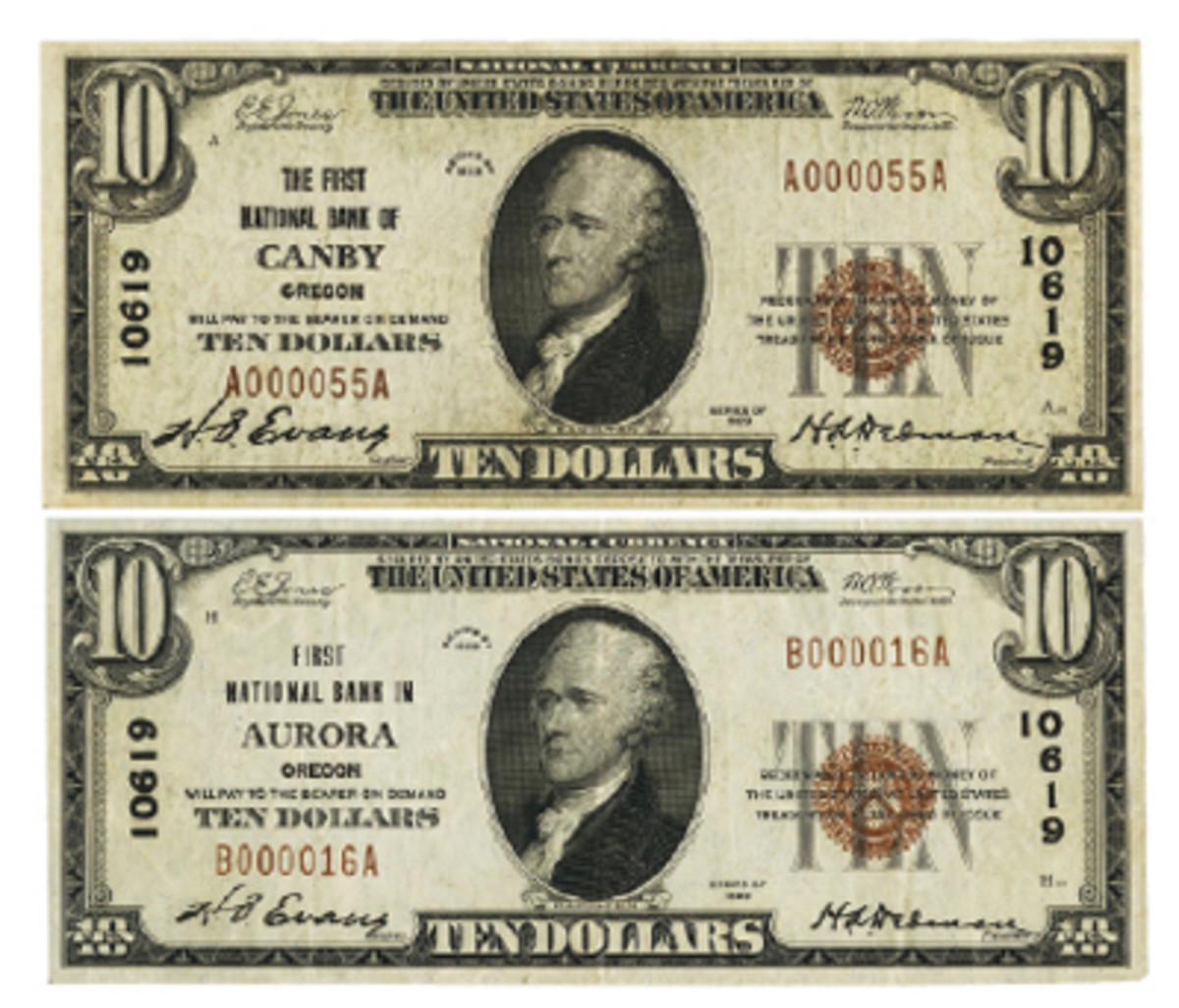 Figure 8. A relocation from Canby, Oregon, to Aurora, Oregon, marked the April 1930 change of the name on the Series of 1929 note on the bottom.