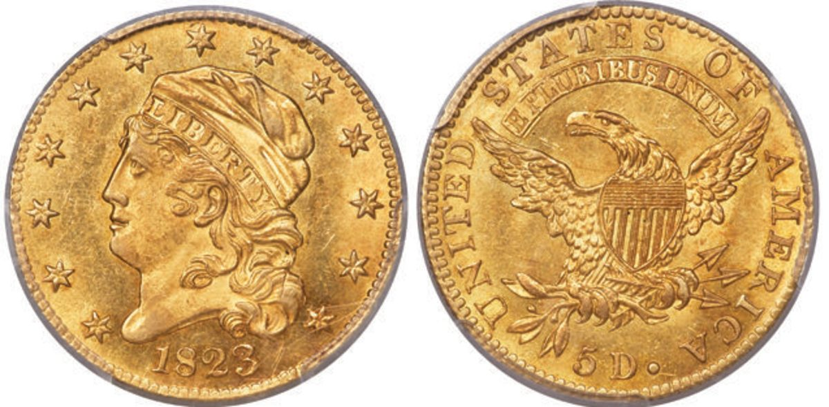This 1823 Capped Head half eagle graded MS-68 by PCGS