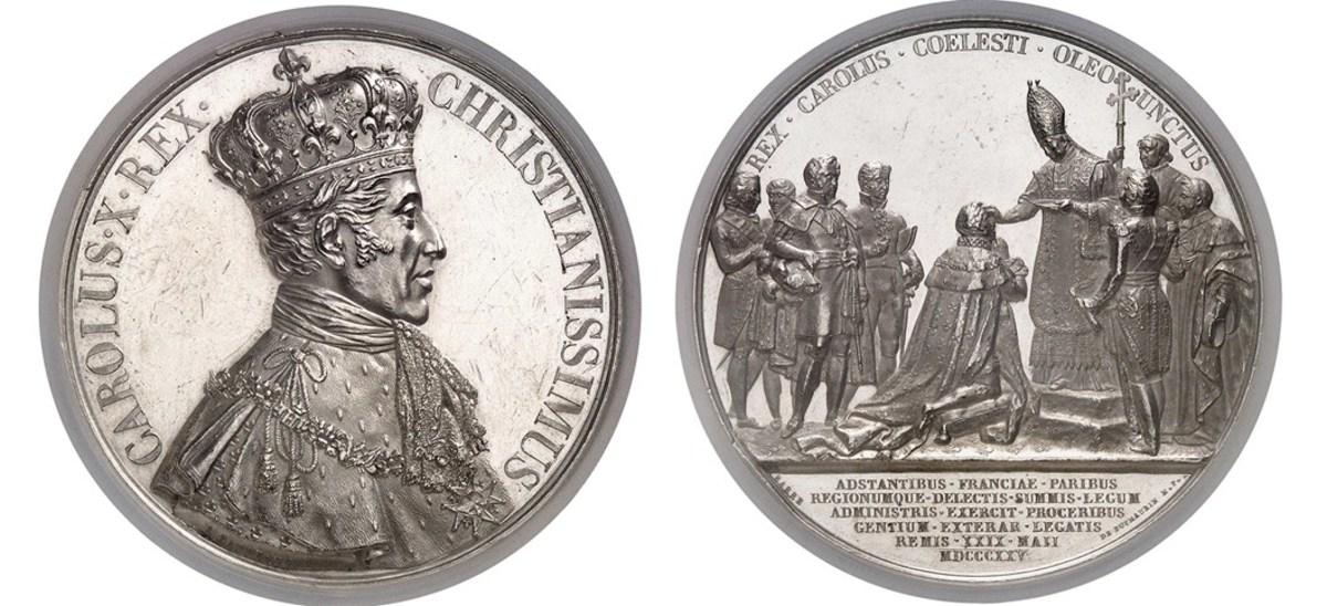 This France 1825 Charles X Platinum Medal graded NGC MS 62 realized 168,000 Swiss Francs (about $170,000 USD)