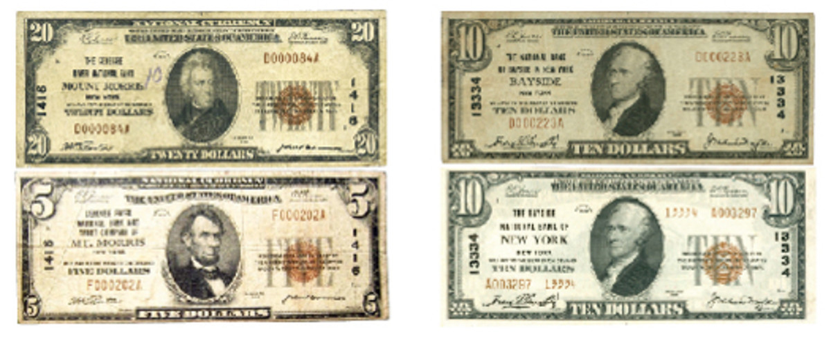 Figure 6 (left). These notes from the Genesee River National Bank are among the earliest of the name changes represented in this review of Series of 1929 notes. The change was in presentation, from Mount Morris to Mt. Morris. Figure 7 (right). Another example of a change from a neighborhood-specific naming convention is represented in this pair of notes issued by the Bank of Bayside New York.