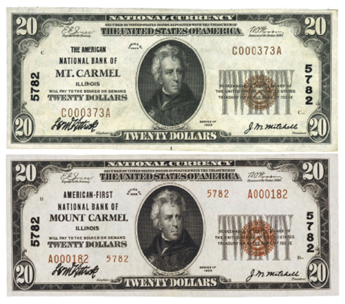 Figure 2. Location remained the same for the Illinois bank that issued these Series of 1929 notes, but spelling changed from an abreviated Mt. Carmel (top) to Mount Carmel (bottom) on Aug. 24, 1934.